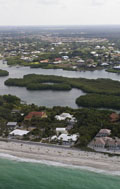 Aerial view of mangroves in Dryman Bay, near Casey Key Road