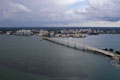 Aerial view of the Ringling Bridge; Downtown Sarasota and Van Wezel also visible.